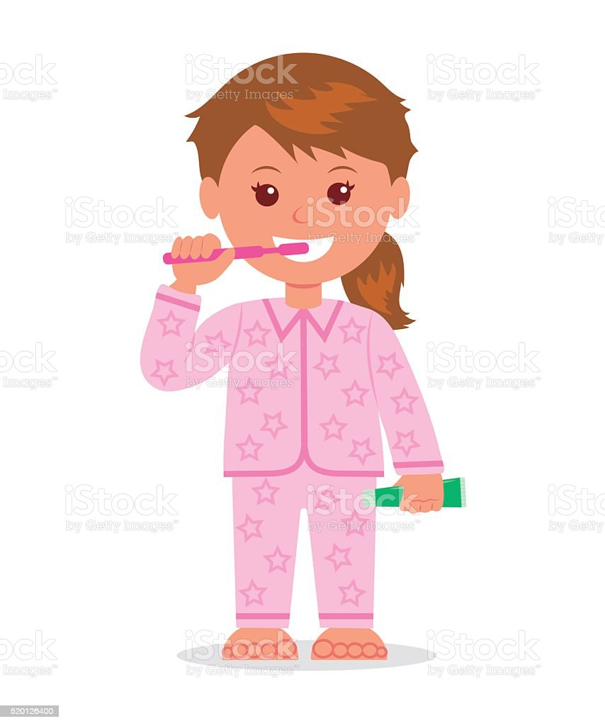 The child in pajamas brushing teeth before bedtime. vector art illustration