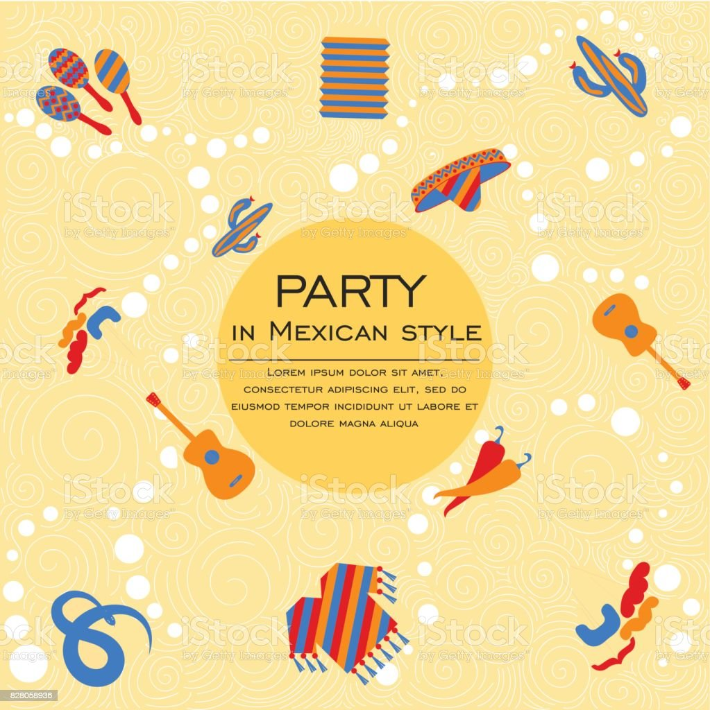 The circle with the goods for the Mexican party vector art illustration