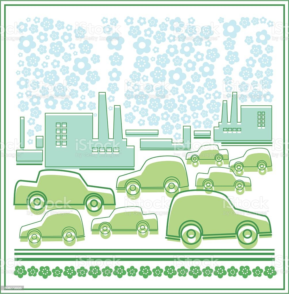 The city and the machine, ecology royalty-free stock vector art