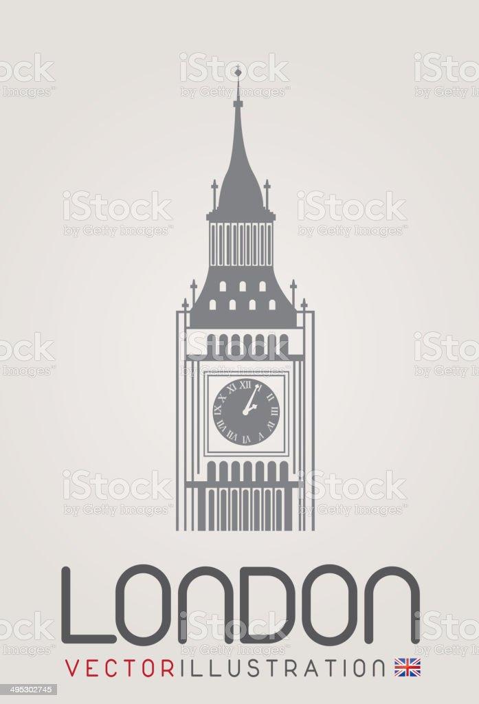 The clock tower vector art illustration
