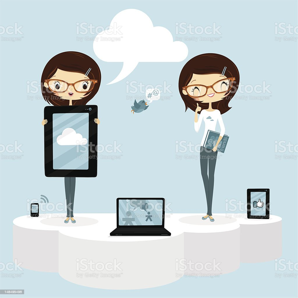 The cloud and social networks vector art illustration