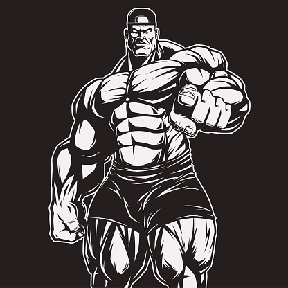 Body building clip art vector images illustrations istock - Cartoon body builder ...