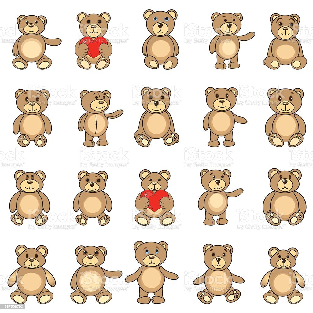 the collection bears in EPS vector vector art illustration