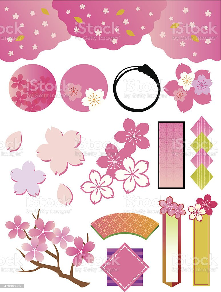 The collection of cherry tree_materials vector art illustration