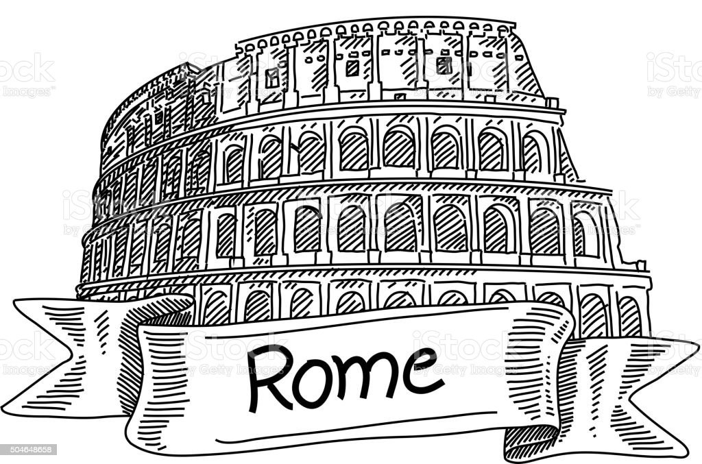 The Colosseum, the world famous landmark in Rome-Drawing vector art illustration