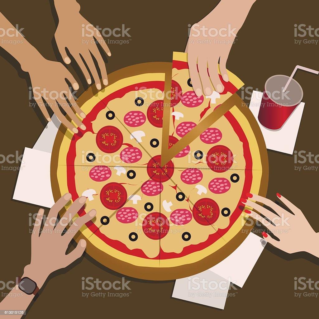 The Company of Friends Eats Pizza vector art illustration