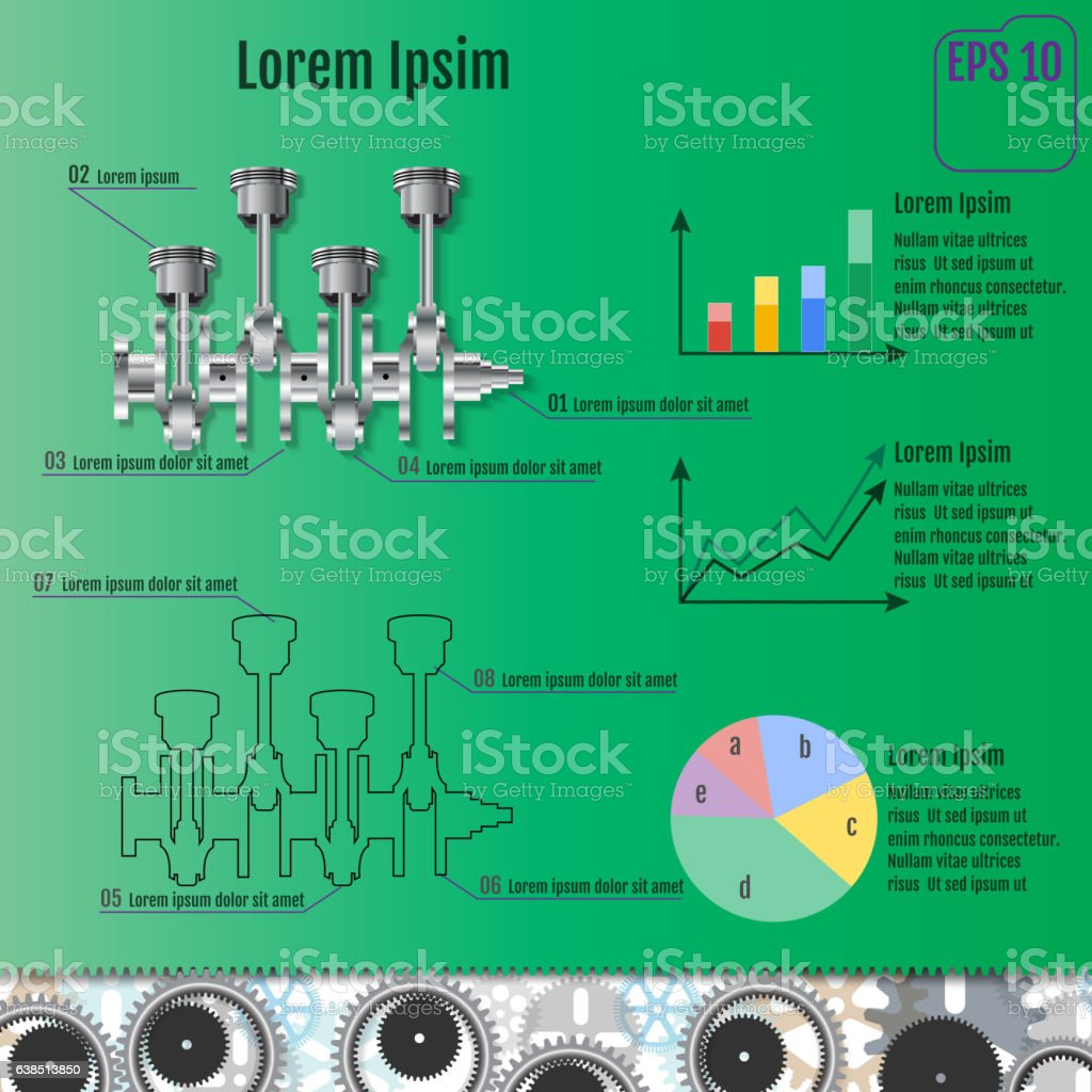 The concept infographic based on the crankshaft. vector art illustration
