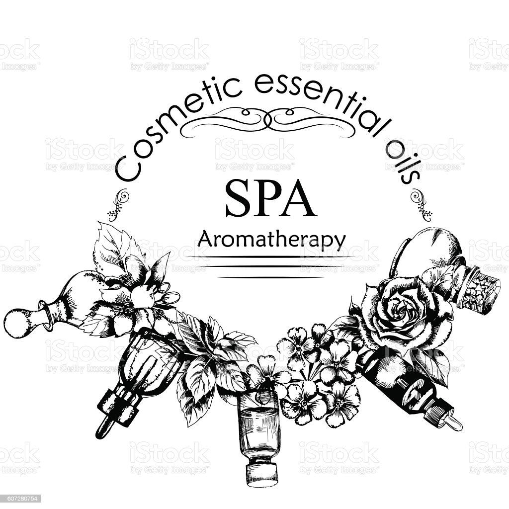 the concept of aromatherapy and massage. Style of hand drawn vector art illustration