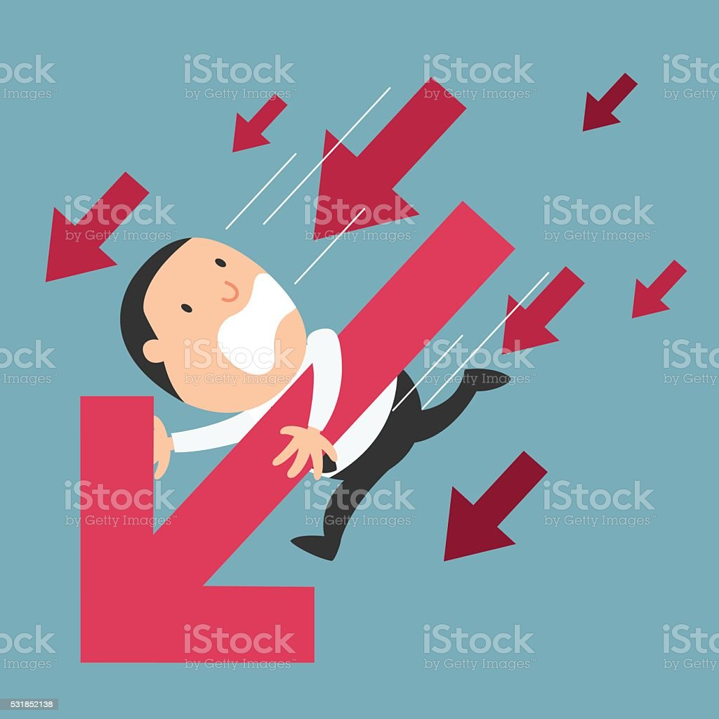 The concept of businessman failure vector art illustration