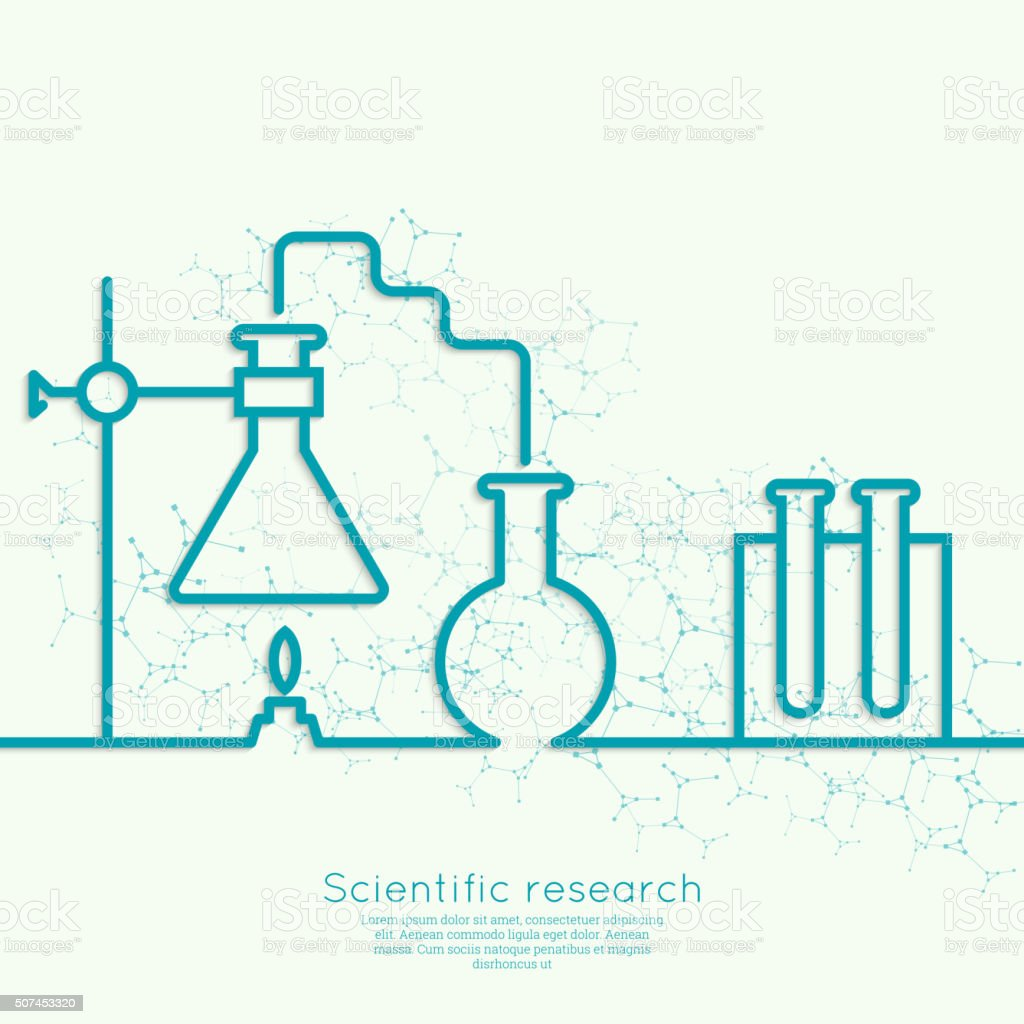 The concept of chemical science research vector art illustration