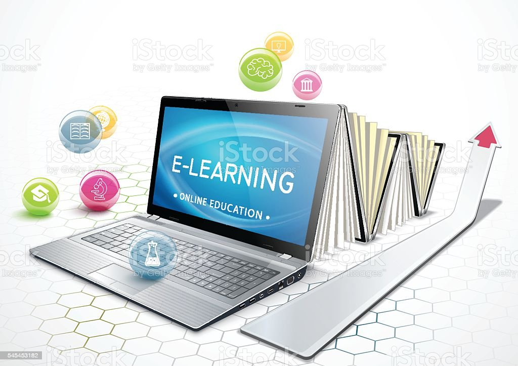 The concept of e-learning. Education online. vector art illustration