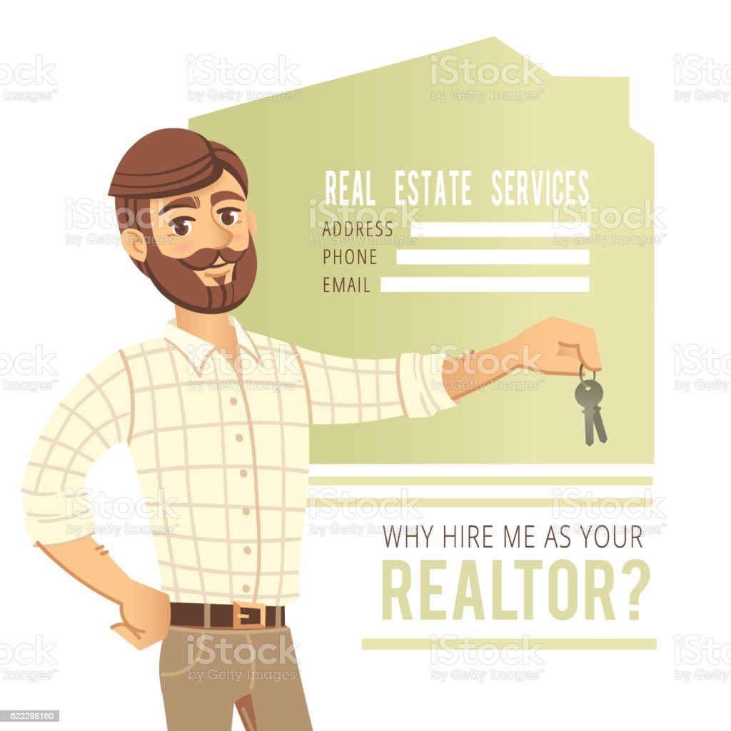 The concept of real estate services. Agent showing a house vector art illustration