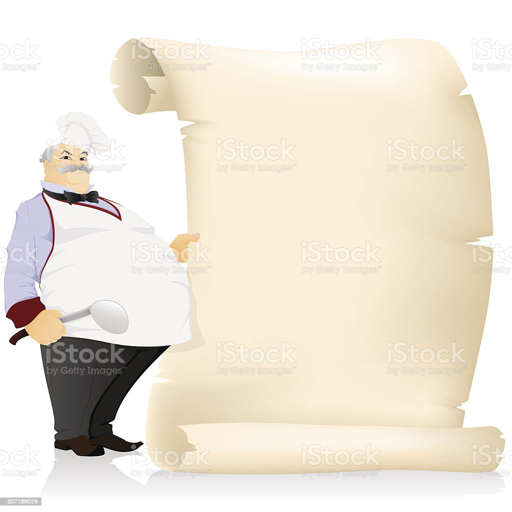 The cook with parchment royalty-free stock vector art