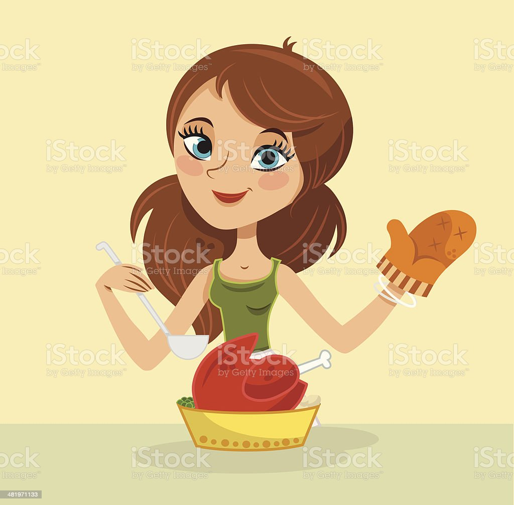 The Cooking Lady vector art illustration