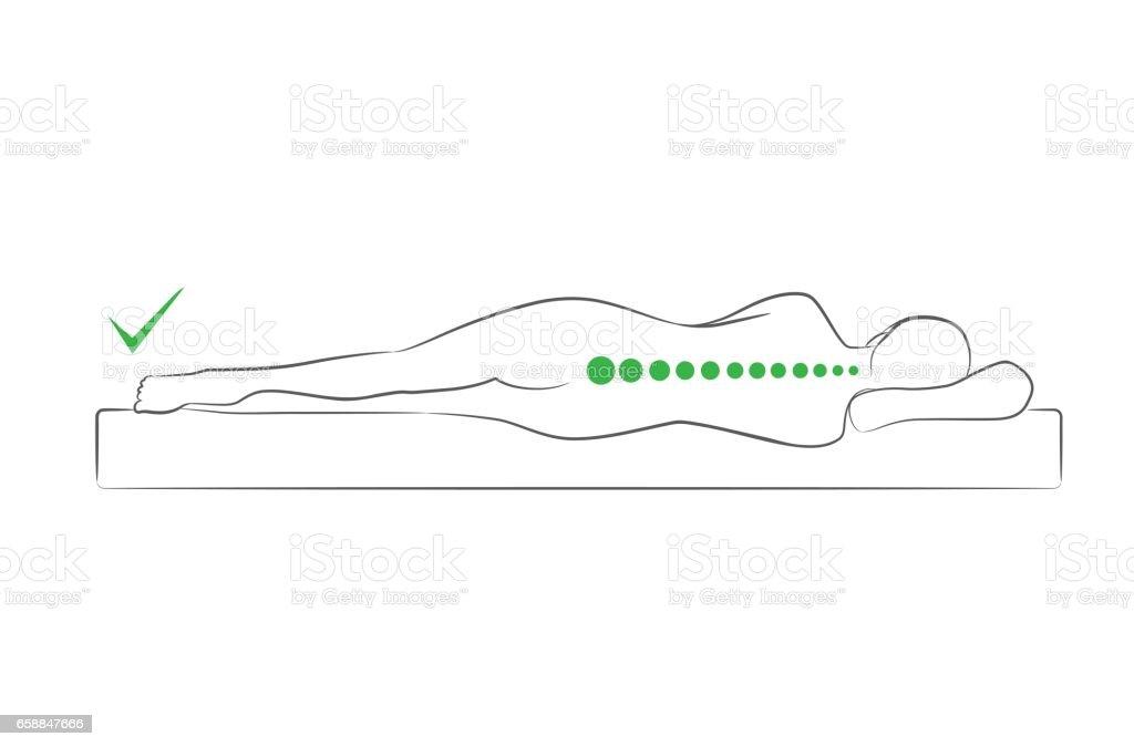 The correct spine alignment when sleeping. vector art illustration