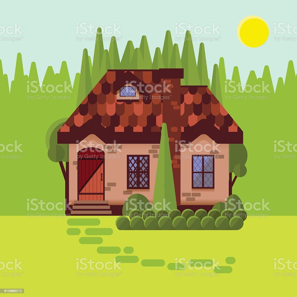 The cottage in the woods, flat style. Bright sunny day. vector art illustration