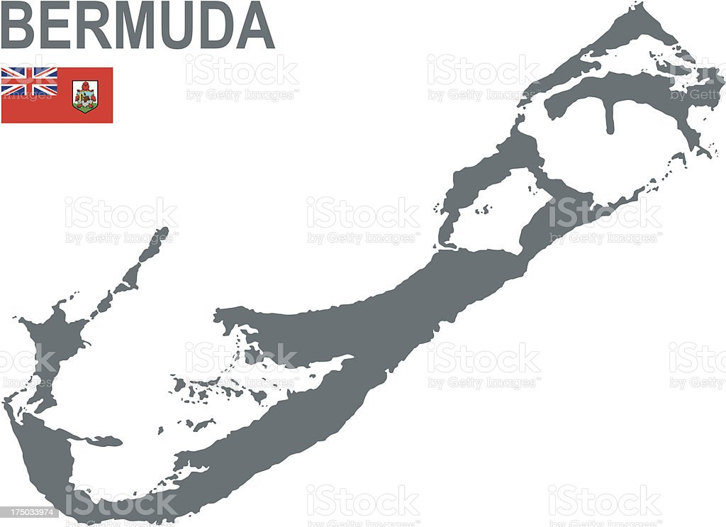 The country of Bermuda being shown on a map royalty-free stock vector art