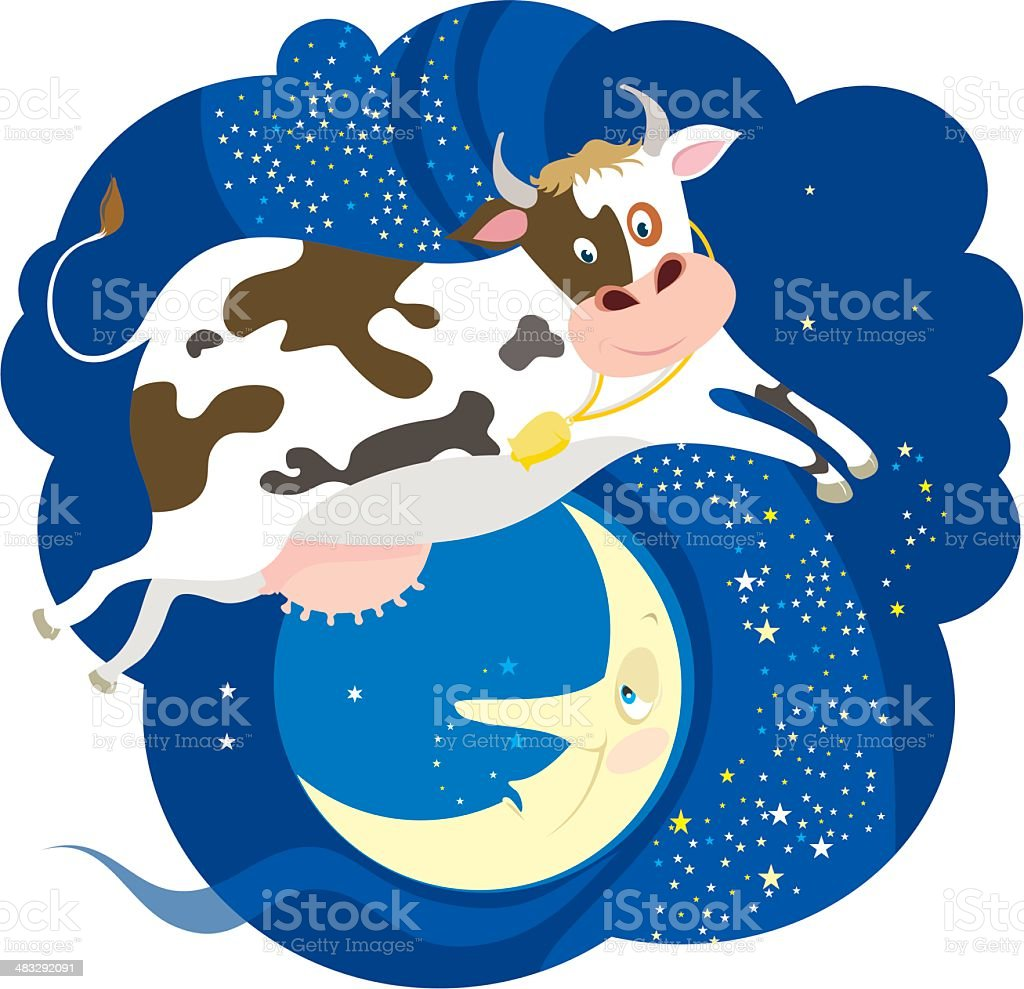 The Cow jumped over  Moon vector art illustration
