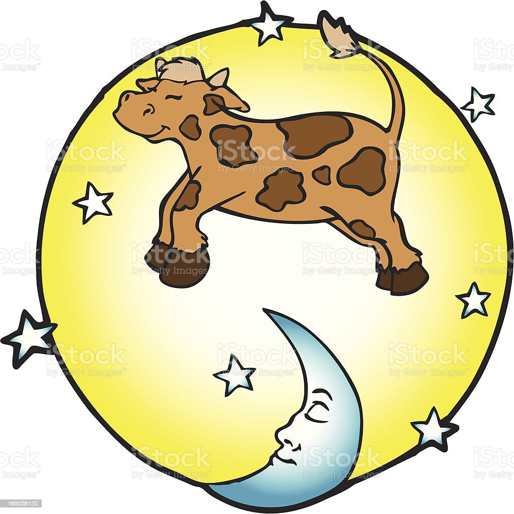 The Cow Jumped Over The Moon royalty-free stock vector art