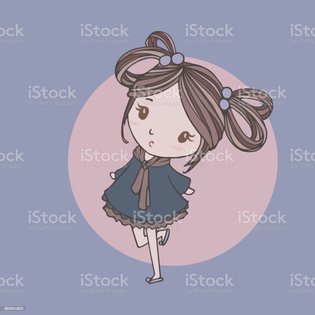 The cute girl with blue dress vector art illustration