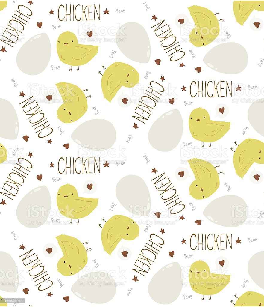 The Cute Yellow Baby Chicken seamless background pattern royalty-free stock vector art