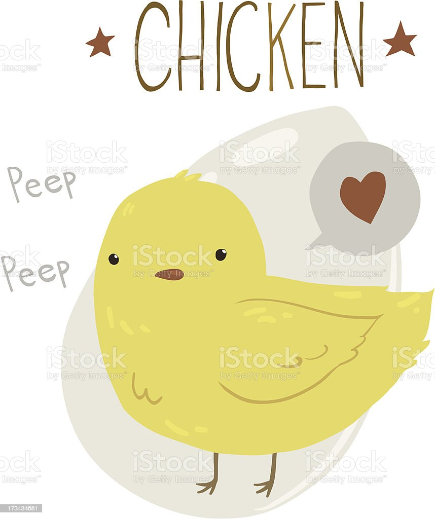 The Cute Yellow Baby Chicken royalty-free stock vector art
