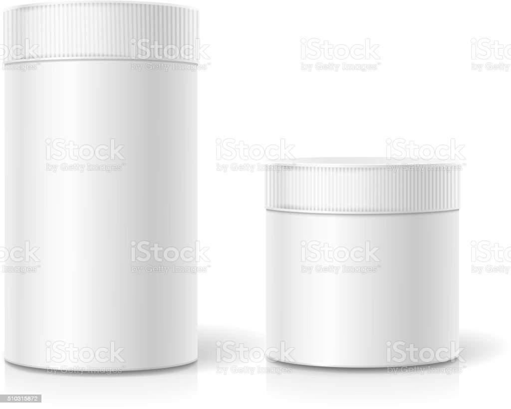 The cylindrical package. Empty white realistic box vector art illustration