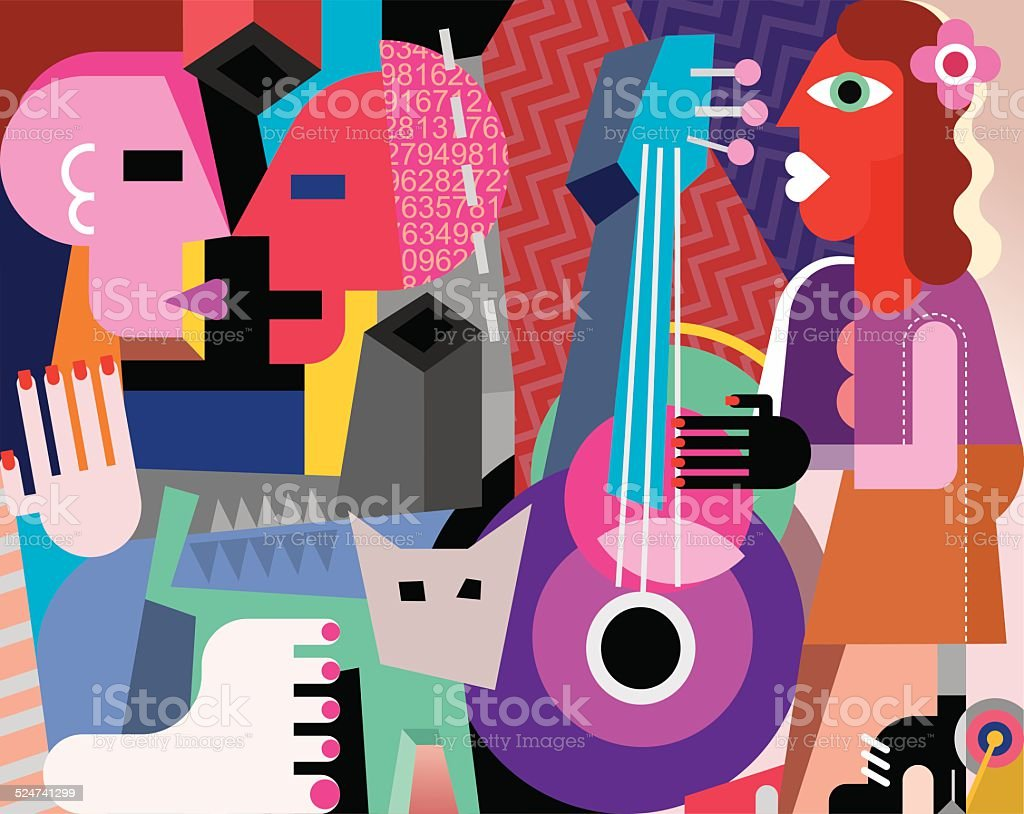 The dancing couple and woman playing guitar vector art illustration