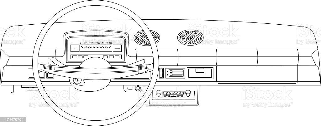 The dashboard of an old vehicle vector art illustration