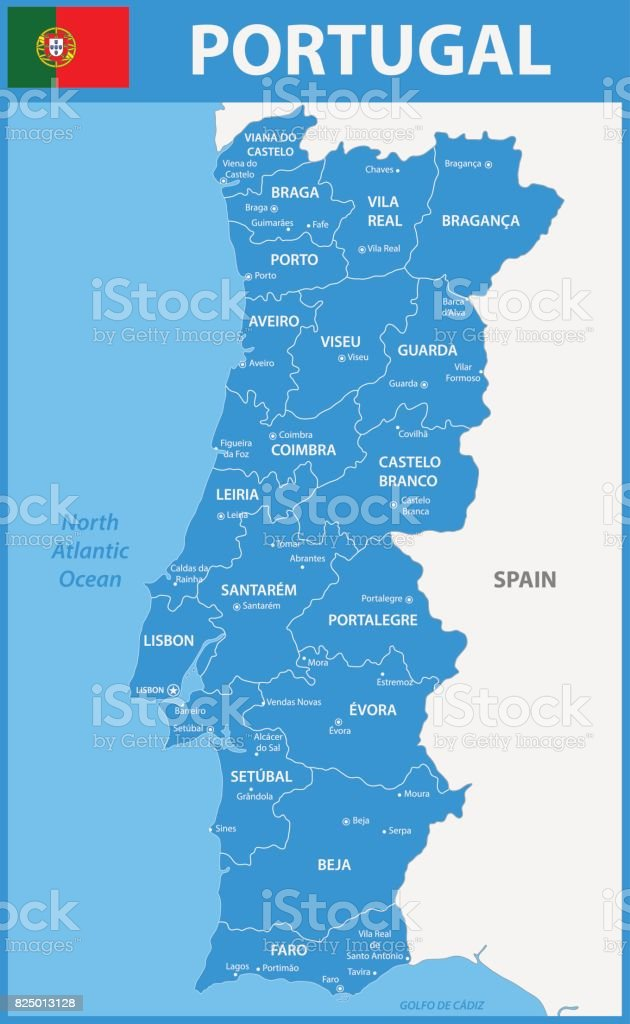 The detailed map of Portugal with regions or states and cities, capitals. vector art illustration