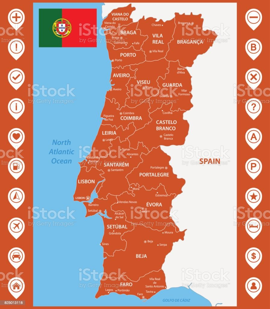 The detailed map of Portugal with regions or states and cities, capitals. With map pins or pointers. Place location markers or signs vector art illustration