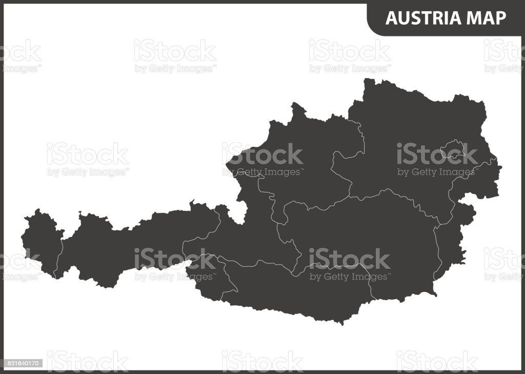 The detailed map of the Austria with regions vector art illustration