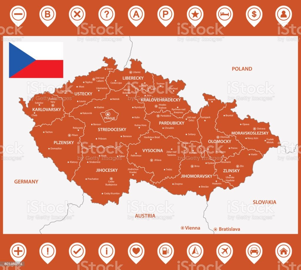 The detailed map of the Czech Republic with regions or states and cities, capitals. With map pins or pointers. Place location markers or signs vector art illustration