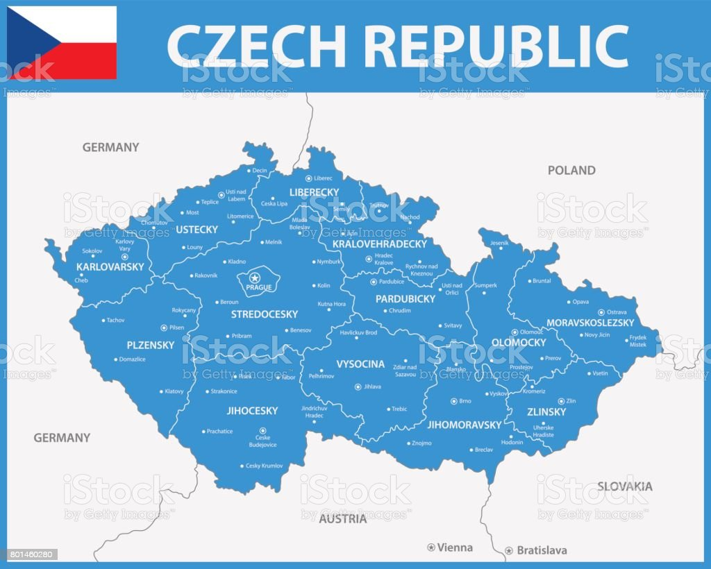The detailed map of the Czech Republic with regions or states and cities, capitals. vector art illustration