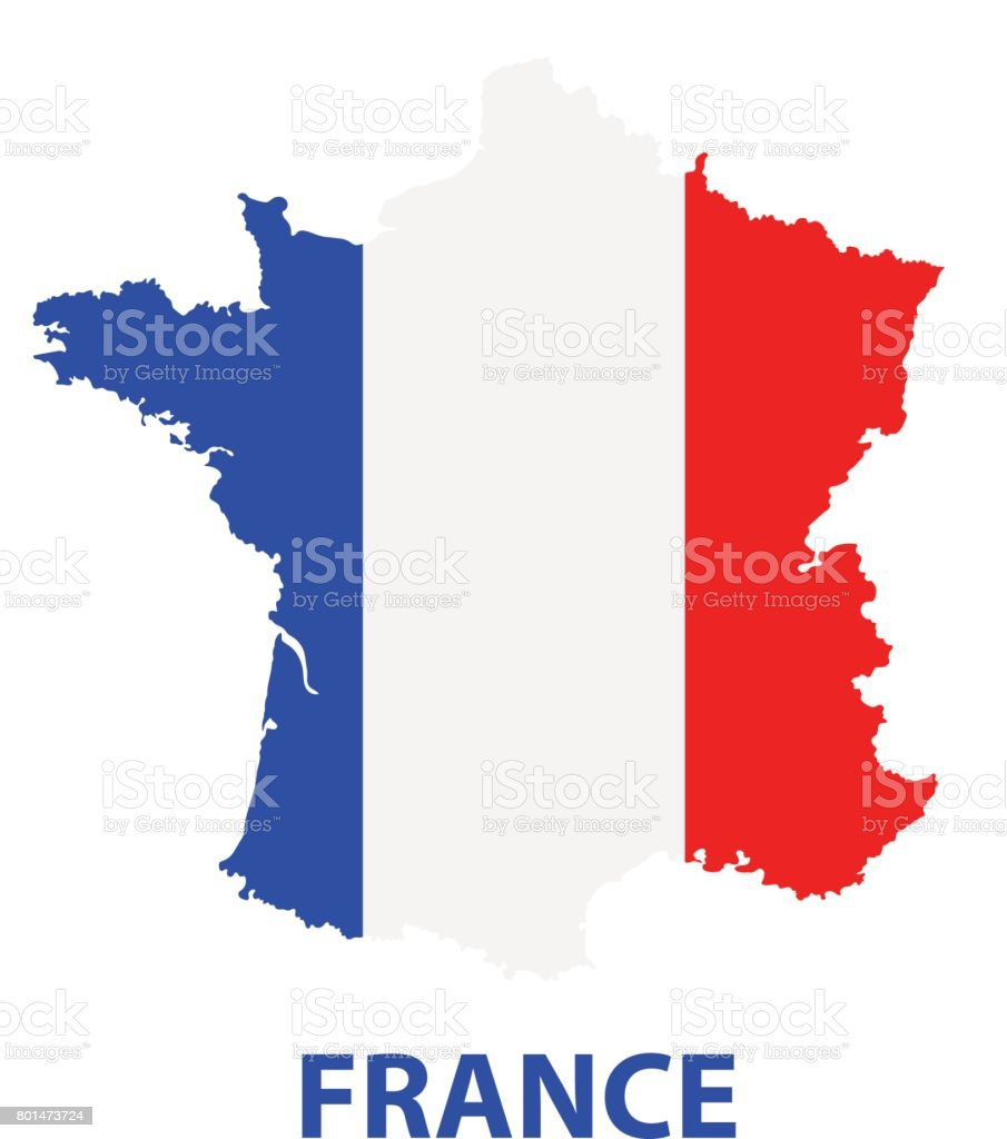 The detailed map of the France with flag vector art illustration