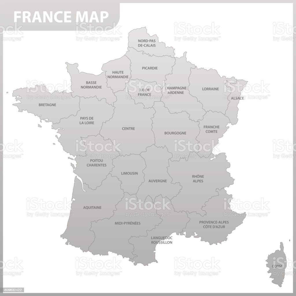 The detailed map of the France with regions or states vector art illustration