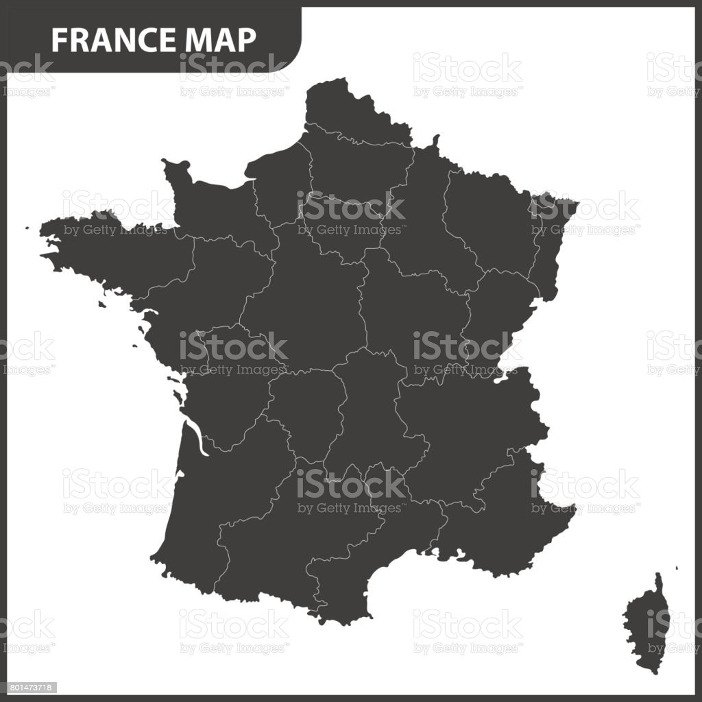 The detailed map of the France with regions vector art illustration