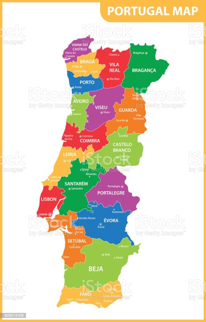 The detailed map of the Portugal with regions or states and cities, capitals vector art illustration