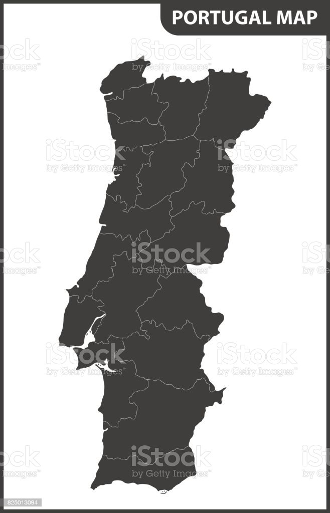 The detailed map of the Portugal with regions vector art illustration
