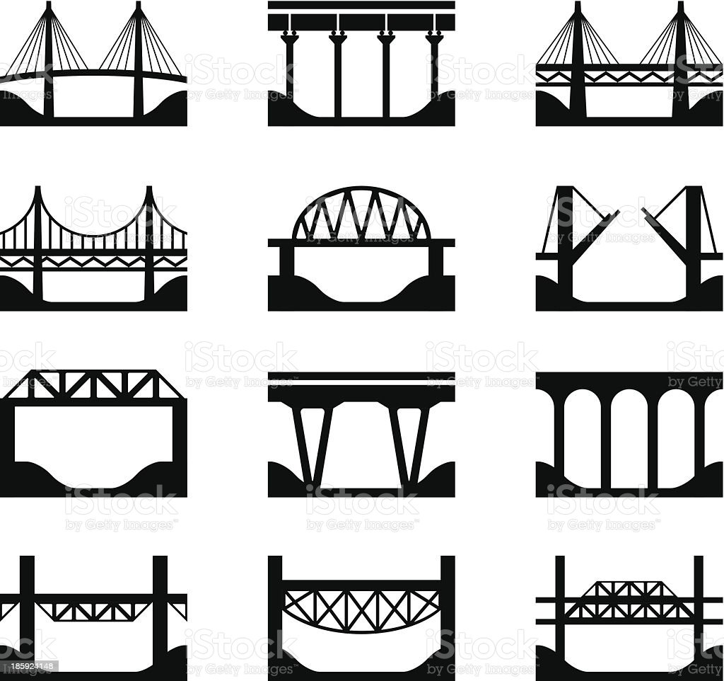 The different types of bridges that exist right now vector art illustration
