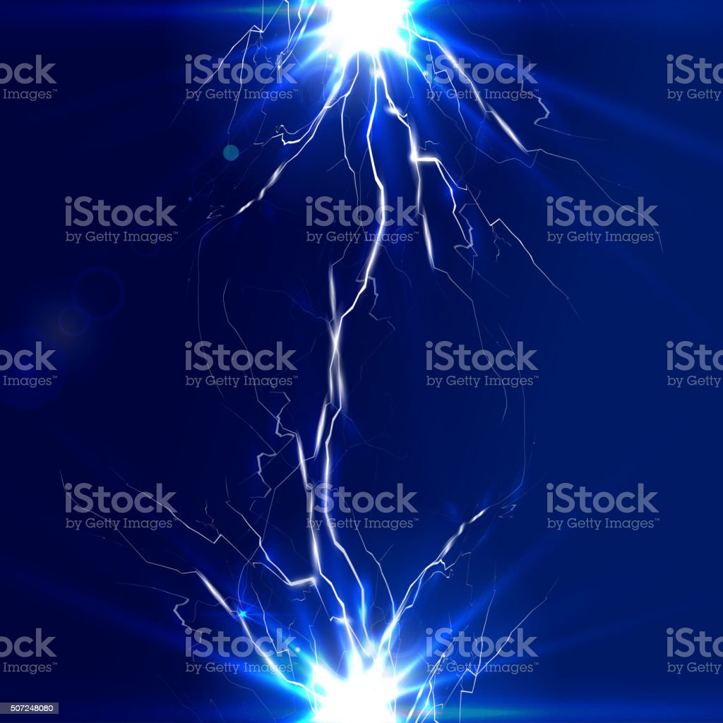 The discharge of electricity, lightning vector art illustration