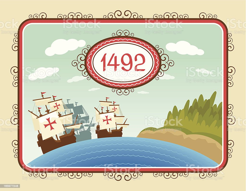 The discovery of America royalty-free stock vector art
