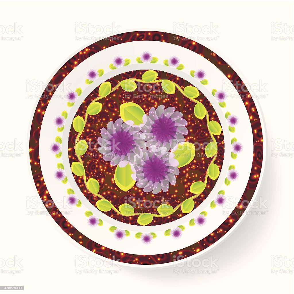 The dish, painting  floral pattern royalty-free stock vector art