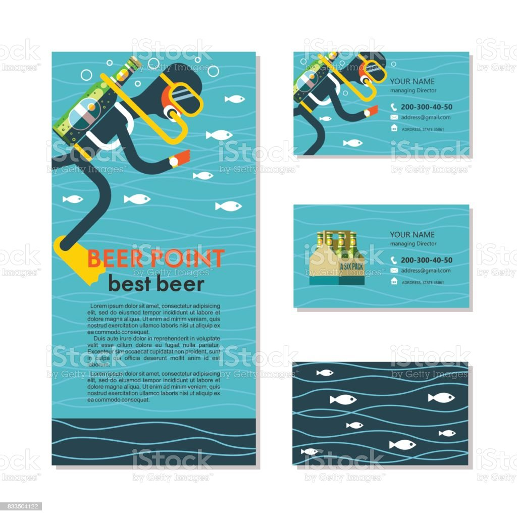 The diver with a bottle of beer instead of oxygen. Funny illustration for lovers of beer and diving. Business cards and flyers. vector art illustration