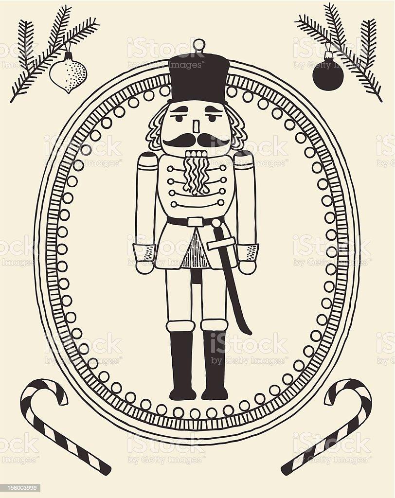 The doodles-style Nutcracker royalty-free stock vector art