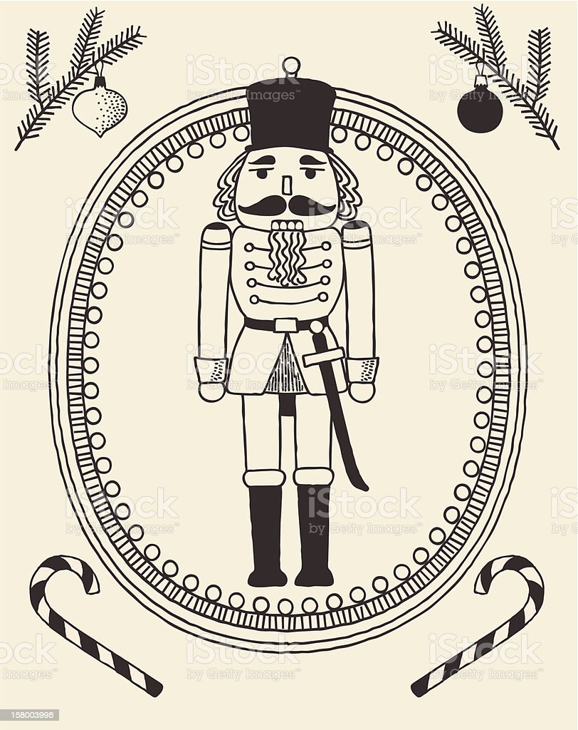 The doodles-style Nutcracker vector art illustration
