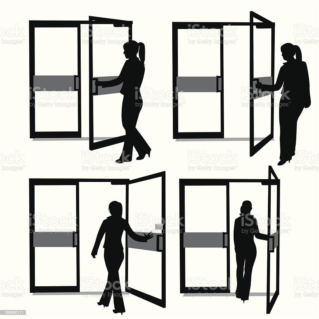 The Door Swings Open Vector Silhouette vector art illustration