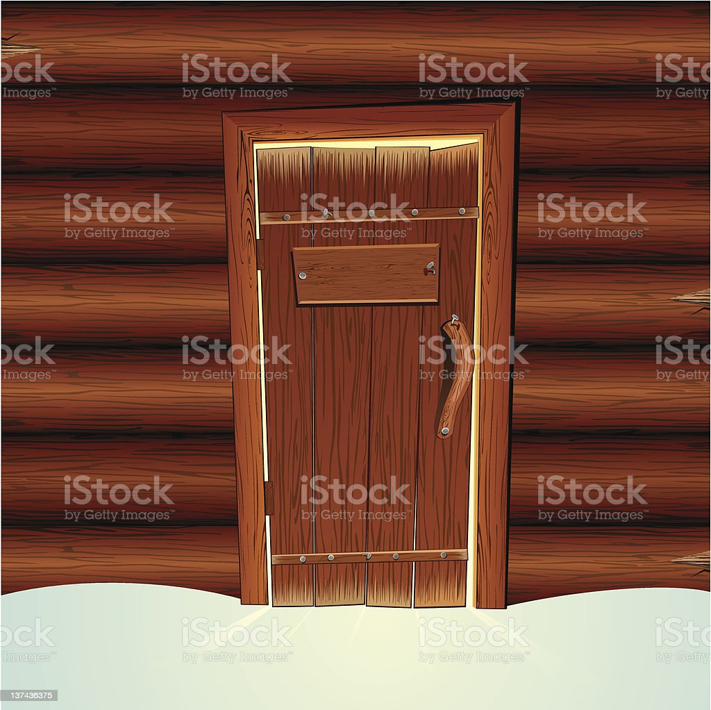 The door to a log cabin in the snow vector art illustration