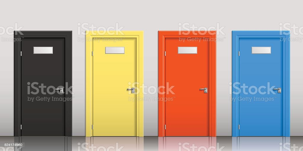 The doors of different colors vector art illustration