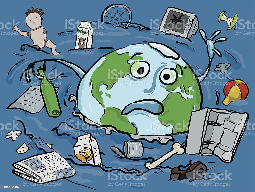The earth drowning in Rubbish royalty-free stock vector art